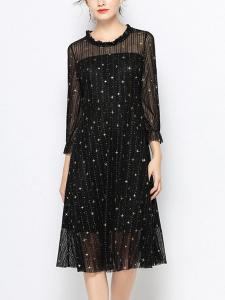round neck short sleeve loose plus size dress