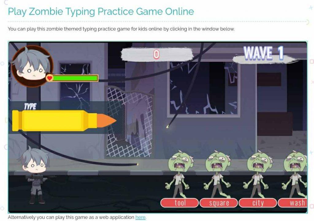 Game Zombie Typing untuk anak di plays.org